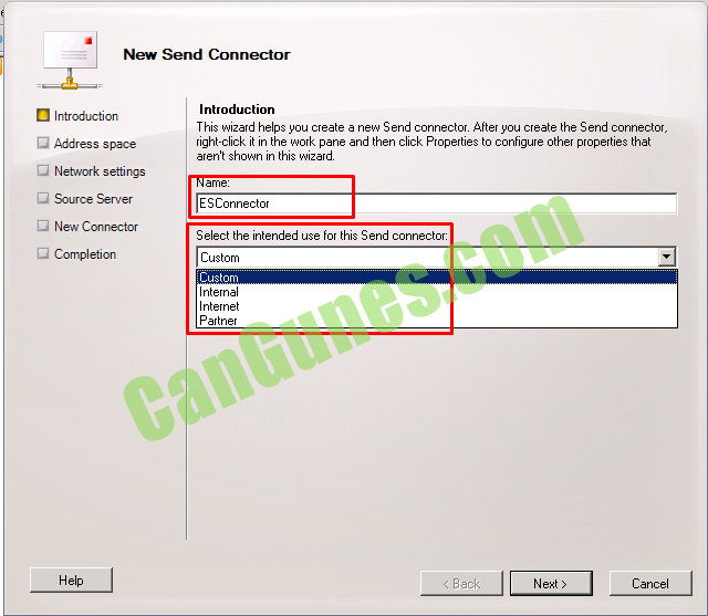 "Makine tarafından oluşturulan alternatif metin: New Send Connector Introduction Address space C] Network settings D New Connector Completion Introduction This ""izard helps you create a new Send connect0L After you create the Send connector, right-click it in the work pane and then click Properties to configure other properties that aren't shown in this ""izard ESConnector Select the intended use for this Send connector: Custom Custom Internal Internet Partner ___JÜEZ Cancel"