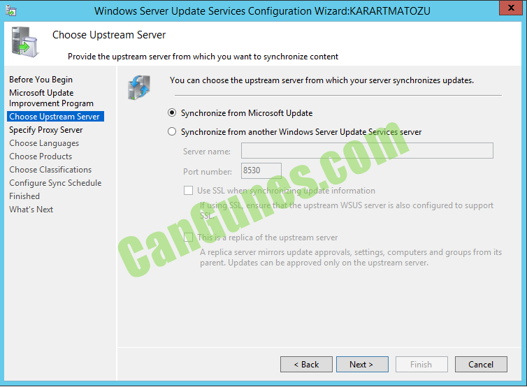 Windows Server Update Services Configuration Wizard:KARARTMATOZ Choose Upstream Server Provide the upstream server from which pu want to synchronize content Before You Begin Microsoft Update Improvement Program ChccseLl stream Sep.'er Specify Proxy Server Choose Languages Choose Products Choose Classifications Configure Sync Schedule Finished What's Next You can choose the upstream server from which your server synchronizes updates. @ Synchronize from Microsoft Update C) Synchronize from another Windows Server Update Services server Server name: 8530 Port number: Use SSL when synchronizing update information If using SSL, ensure that the upstream WSUS server is also configured to support This is a replica of the upstream server A replica server mirrors update approvals, settings, computers and groups from its parent. Updates can be approved only on the upstream server. Finish Cancel