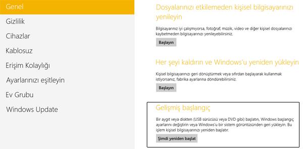 Windows 8 Güvenli Modda Başlatmak - gelişmiş başlangıç