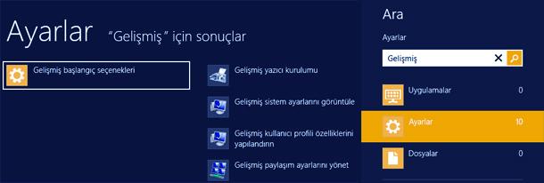 Windows 8 Güvenli Modda Başlatmak - gelişmiş