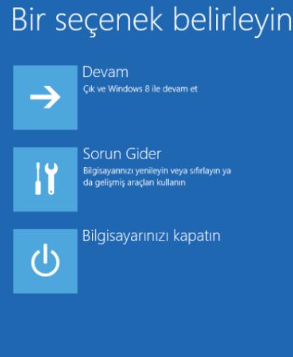 Windows 8 Güvenli Modda Başlatmak - sorun gider