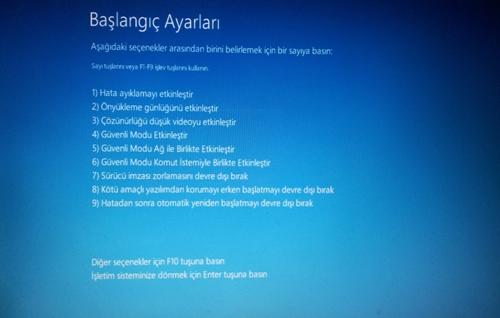 Windows 8 Güvenli Modda Başlatmak - başlangıç ayarları