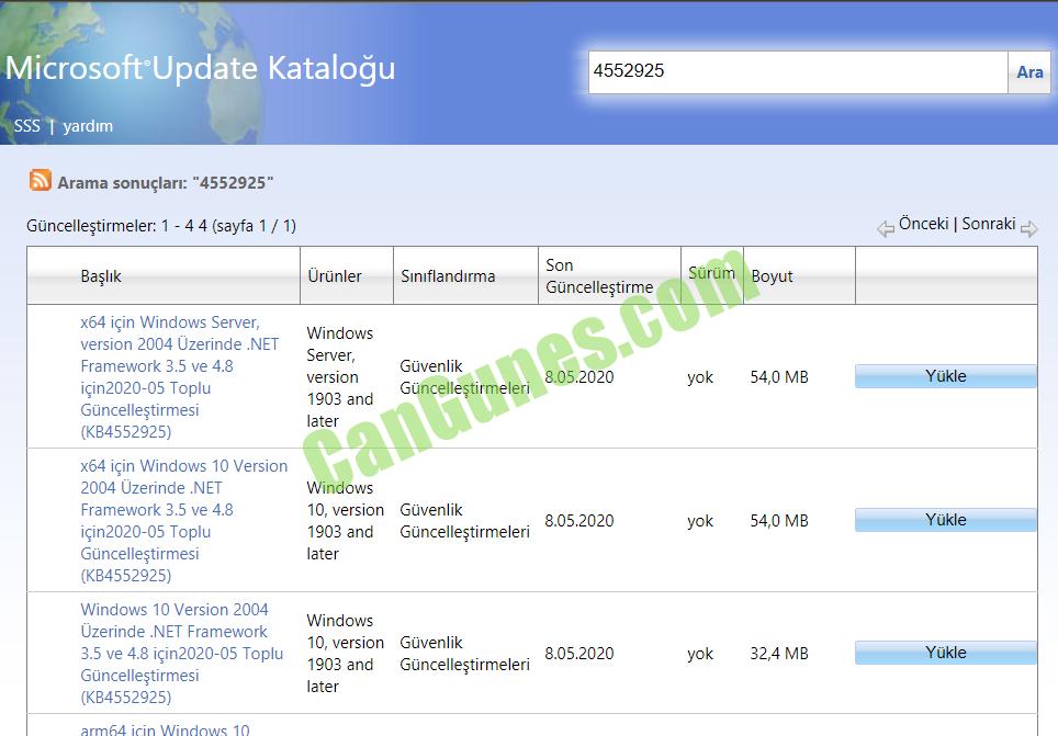 Microsoft Update Catalog kullanımı