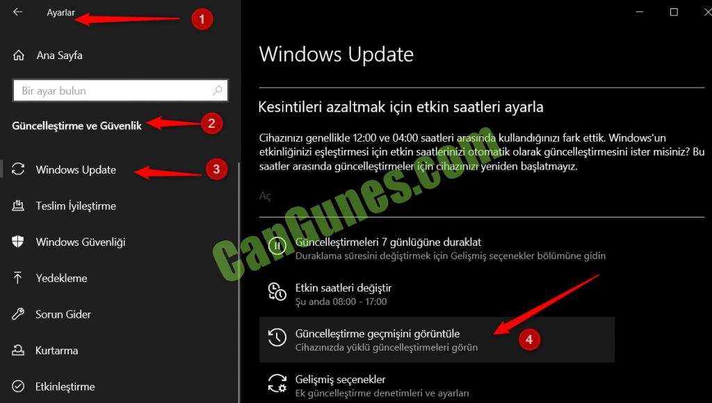 Windows 10 Güncelleme Geçmişi Nerede