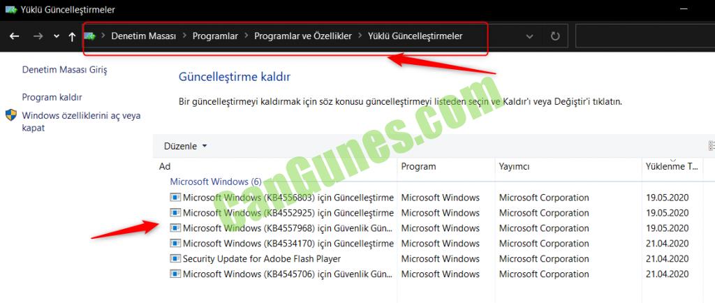 Windows 10 Güncelleme Geçmişi denetim masası