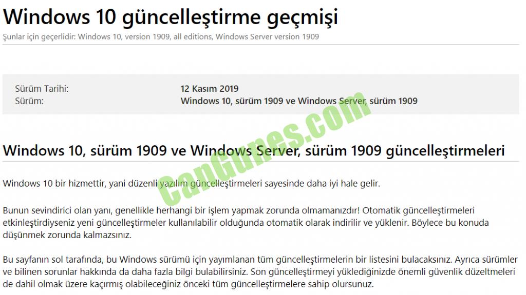 Windows 10 Güncelleme Geçmişi detay