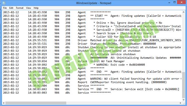 Windows Update Yüklenemiyor - WindowsUpdate.Log