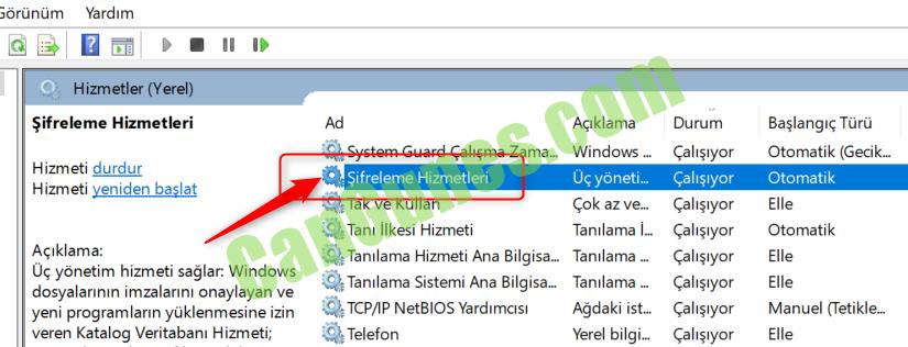 Windows Update Yüklenemiyor - Şifreleme Hizmetleri - CryptSvc