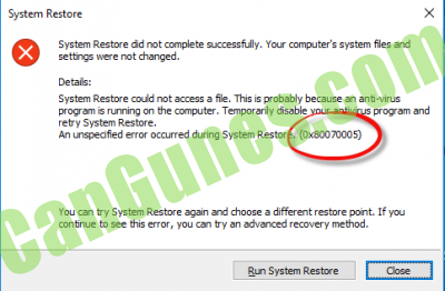 System Restore failed & did not complete successfully