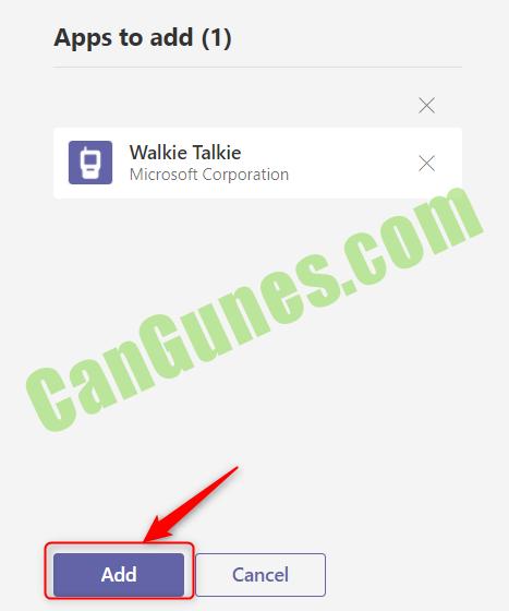 Apps to add (1) Walkie Talkie Microsoft Corporation Cancel