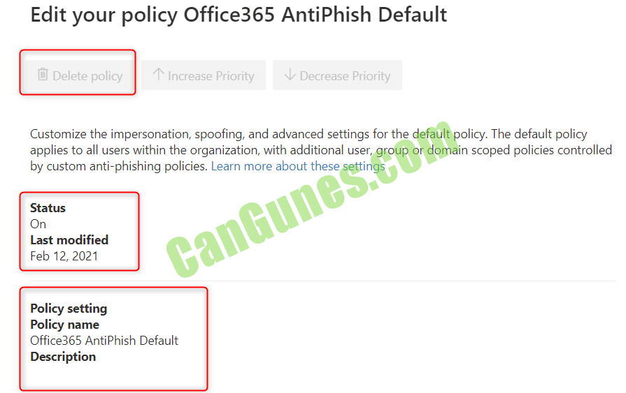 Office 365 Anti-Phisging Policy