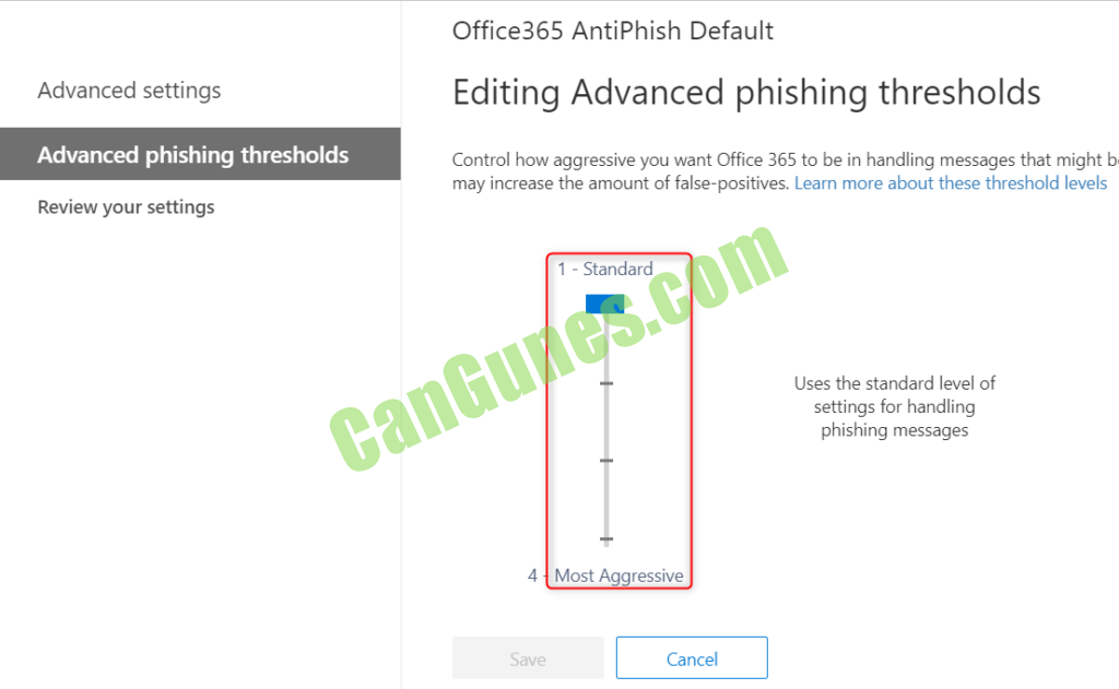 Office 365 Anti-Phisging Policy thresholds limits