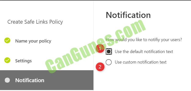 Office 365 safe links notification