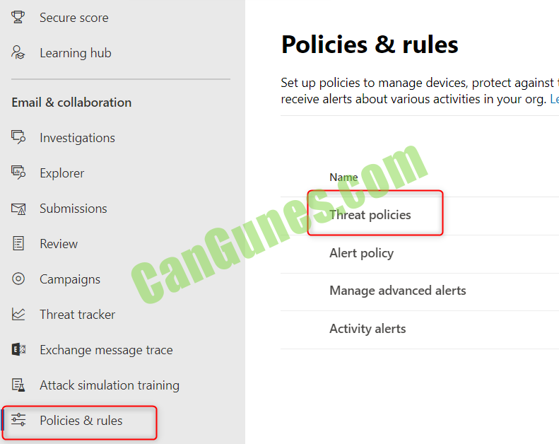 Office 365 Threat Policies