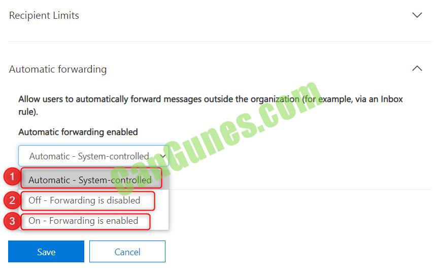 Yönlendirilmiş e-postaları engelleme