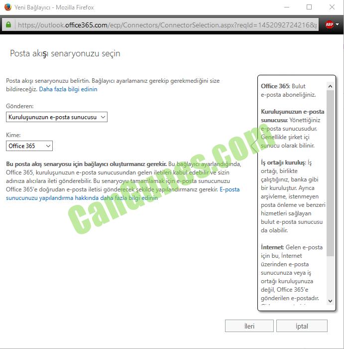 """Makine tarafından oluşturulan alternatif metin: Yeni Bağlayıcı - McziIIB Firefcx https:""""cutlcck. Posta akışı senaryonuzu seçin Posta akışı senaryonuzu belirtin. Bağlayıcı ayarlamanız gerekip gerekmediğini size bildireceğiz. Daha fazla bilgi edinin Gönderen: Kuruluşunuzun e-pasta sunucusu Kime: Office 365 Bu akış ğin bğlayıcı gerekir. Bu ba ğlayıcı ayarlandığında, Office 365, kuruluşunuzun e-posta sunucusundan gelen iletileri kabul edebilir ve sizin adınıza alıcılara ileti gönderebilir. Bu senaryoyu tamamlamak için e-posta sunucunuzu Office 365'e doğrudan e-posta iletisi gönderecek şekilde yapılandırmanız gerekir; E-posta sunucunuzu yapılandırma hakkında daha fazla bilgi edinin 145211927242162, Office 365: Bulut e-posta aboneliğiniz. Kuruluşunuzun sunucuqr Yönettiğiniz e-posta sunucusudur. Genellikle şirket içi sunucu olarak bilinir. İş m-tağl kuruluş: İş ortağı, birlikte çalıştığınız, banka gibi bir kuruluştur. Ayrıca arşivleme, istenmeyen posta önleme ve benzeri hizmetleri sağlayan bulut e-posta sunucusu da olabilir. İnternet Gelen e-posta için bu, İnternet üzerinden e-posta sunucunuza veya Iş ortağı kuruluşunuza değil, Office 365'e gönderilen e-postadlG BEP"""