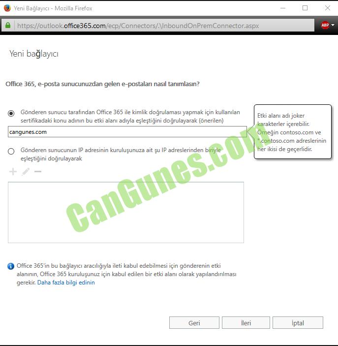 Makine tarafından oluşturulan alternatif metin: Yeni Bağlayıcı - McziIIB Firefcx https:;;cutlcck. Yeni bağlayıcı Office 365, e-posta sunucunuzdan gelen e-postalan nasıl tanımlasın? O Gönderen sunucu tarafından Office 365 ile kimlik doğrulaması yapmak için kullanılan sertifikadaki konu adının bu etki alanı adıyla eşleştiğini doğrulayarak (önerilen) cangunes.com O Gönderen sunucunun IP adresinin kuruluşunuza ait şu IP adreslerinden biriyle eşleştiğini doğrulayarak O Office 365'in bu bağlayıcı aracılığıyla ileti kabul edebilmesi için gönderenin etki alanının, Office 365 kuruluşunuz için kabul edilen bir etki alanı olarak yapılandırılması gerekir. Daha fazla bilgi edinin Etki elanı adı joker karakterler içerebilir; Orneğin contosoa:om ve *.contoso.com adreslerinin her ikisi de geçerlidir. BEP
