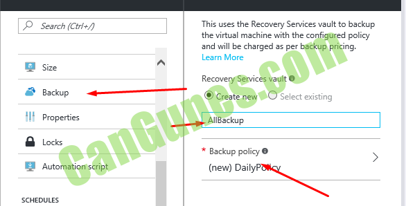 Search (CtH+,9 Backup Properties Automation script SCHEDULES This uses the Recovery Services vault to backup the virtual machine with the configured policy and will be charged as per backup pricing. Learn More Recovery Services vault O @ Create new O Select existing AllBackup * Backup policy O (new) Daily