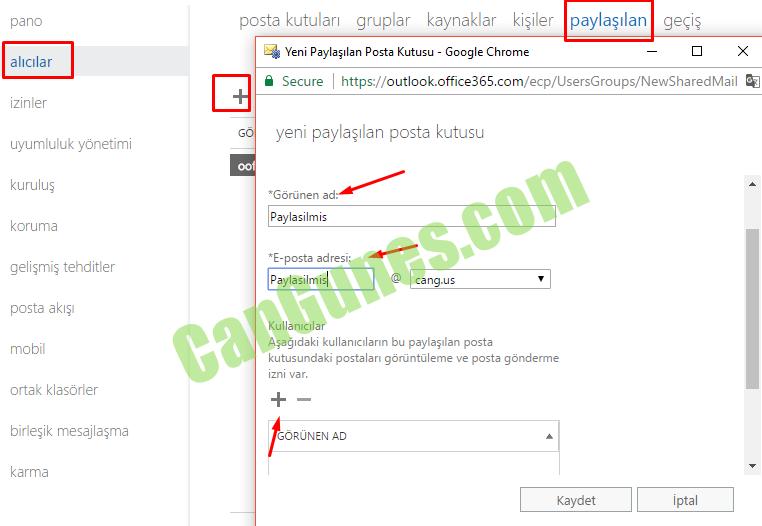 pano alıcılar izinler uyumluluk yönetimi kUrUIUş koruma gelişmiş tehditler pasta akışı mobil ortak klasörler birleşik mesajlaşma karma posta kutuları gruplar kaynaklar kişiler paylaşılan geçış Yeni Paylaşılan Posta Kutusu - Google Chrome a Secure https://outIook.office365.com/ecp/UsersGroups/NewSharedMaiI yeni paylaşılan posta kUtUSU *Görünen ad. PaylB5iImi5 *E-posta adresi: Kullanıcılar Aşağıdaki kullanıcıların bu paylaşılan posta kutusundaki postaları görüntüleme ve posta gönderme ıznı var, ÖRÜNEN AD Kaydet