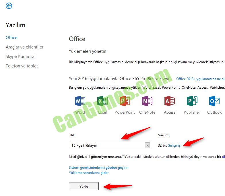 Office 365 kullanıcı ayarları