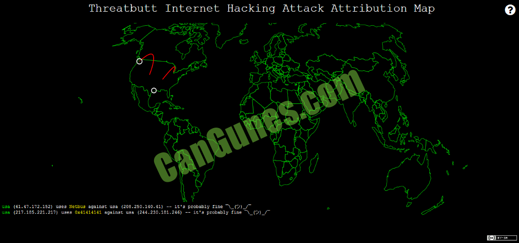 Machine generated alternative text: Threatbutt Internet Hacking Attack Attribution Map usa usa (61.47.172.152) uses Netbus against usa (208.250.140.41) it's pmbably fine ) (217.185.221.217) uses ox41414141 against usa (244.230.181.246) s pmbably fine