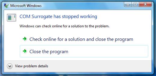 COM Surrogate Çalışmayı Durdurdu Hata Mesajı